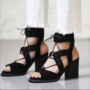 Free People Lennon Black Lace Up Sandals Size 37